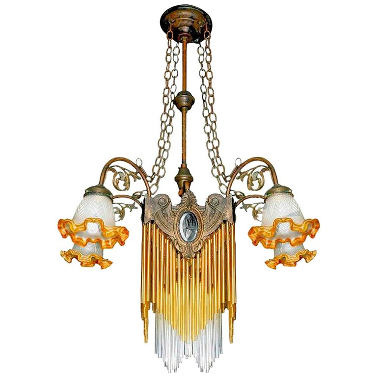 French Art Nouveau, Art Deco Amber Glass Straws Fringe Bronze & Brass Chandelier For Sale