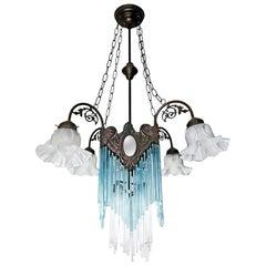 French Art Nouveau, Art Deco Blue Glass Straws Fringe and Bronze Chandelier