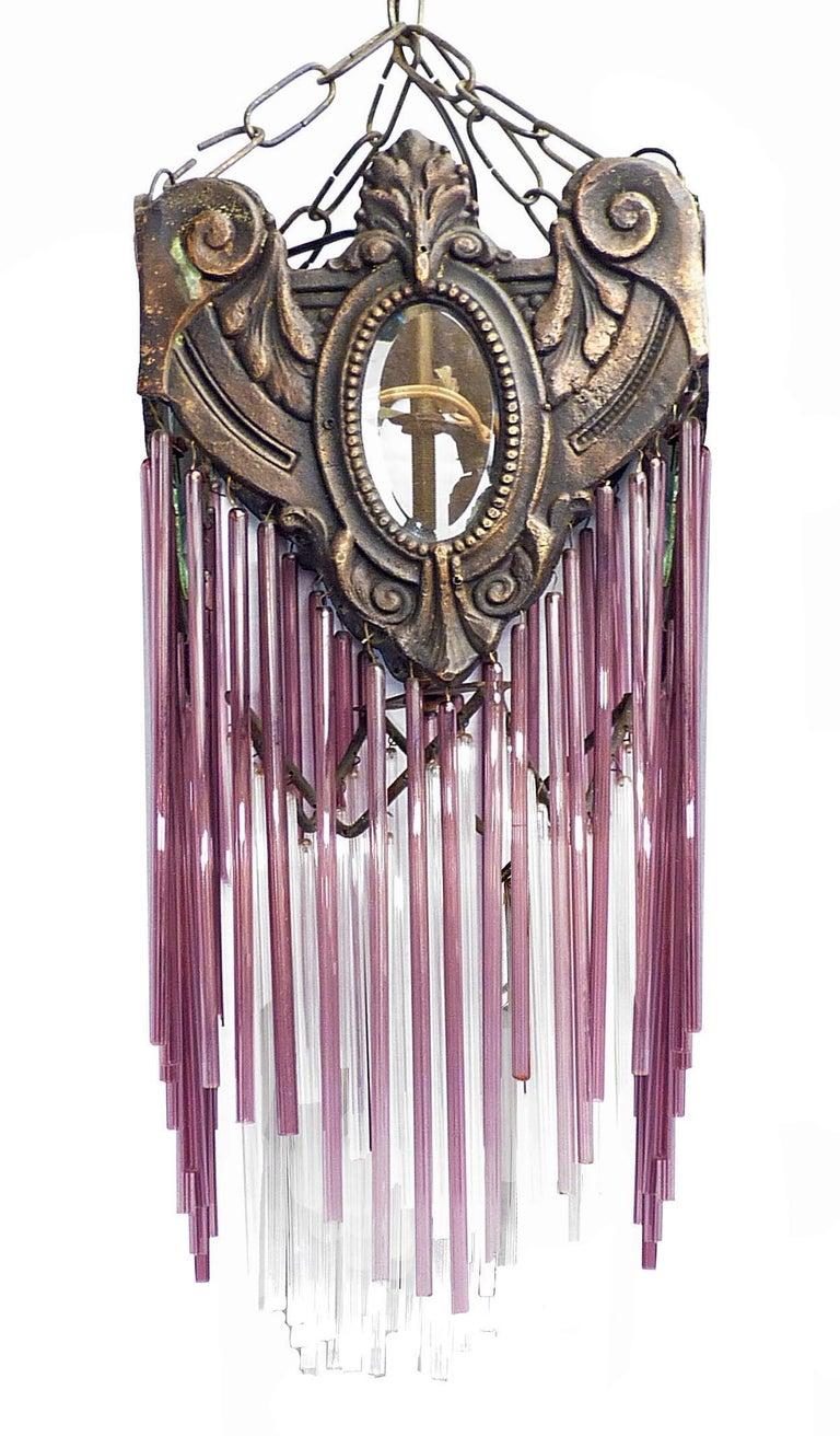 Cast French Art Nouveau Art Deco Bronze and Purple Glass Fringe Chandelier or Lantern For Sale