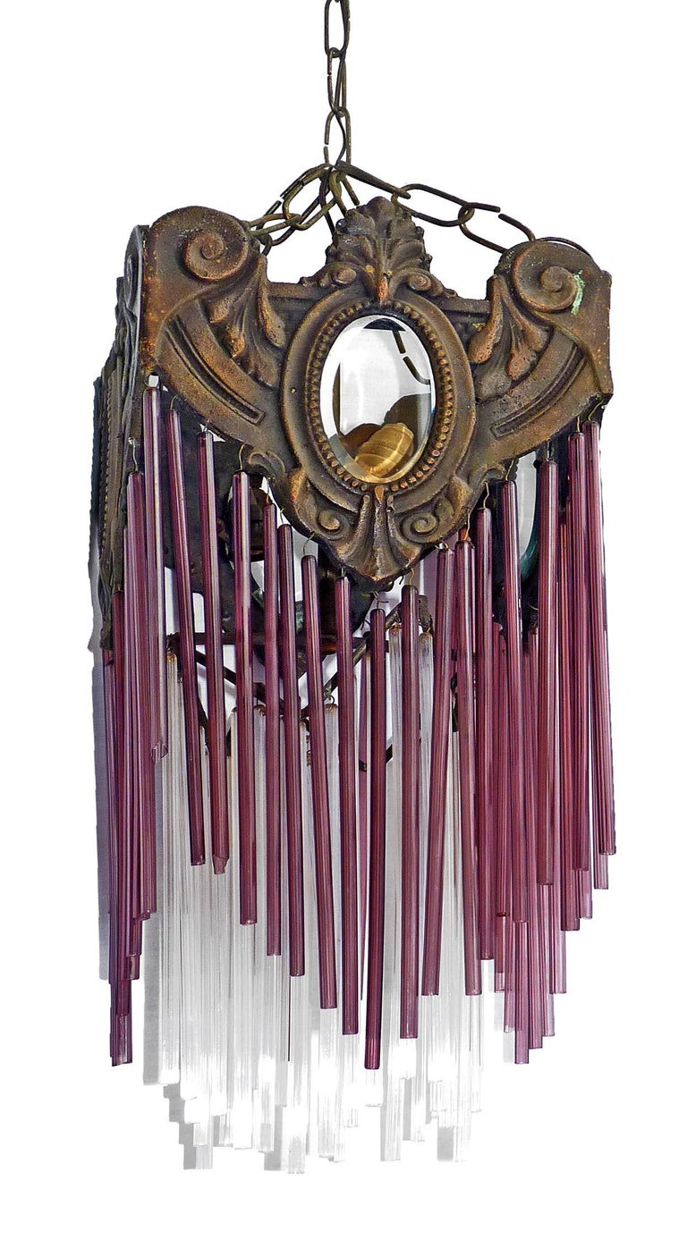French Art Nouveau Art Deco Bronze and Purple Glass Fringe Chandelier or Lantern In Good Condition For Sale In Coimbra, PT