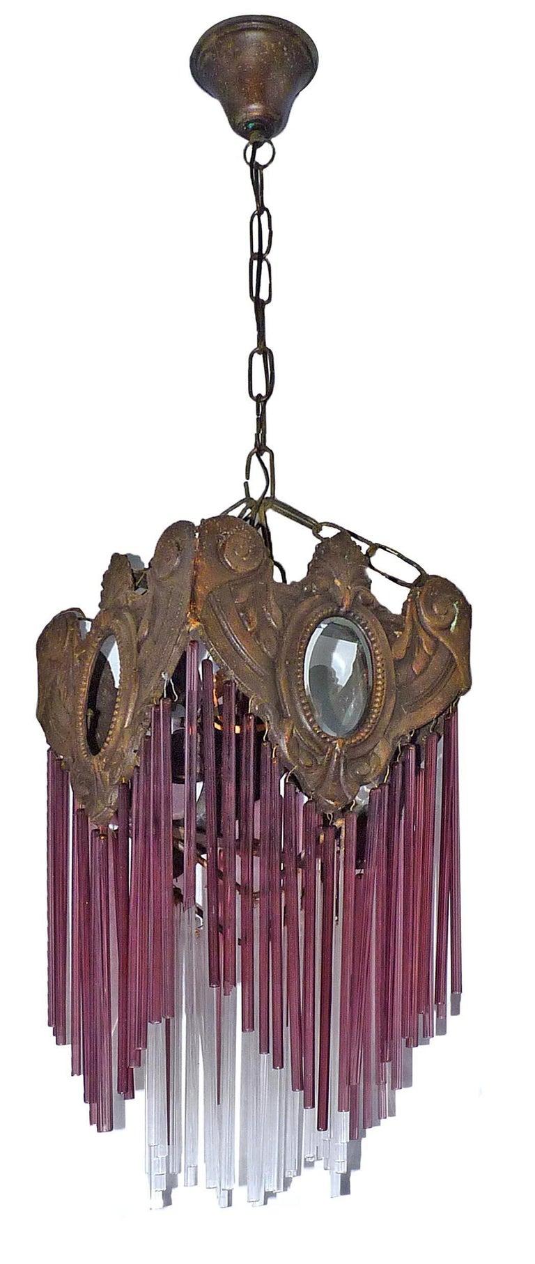 French Art Nouveau Art Deco Bronze and Purple Glass Fringe Chandelier or Lantern For Sale 1