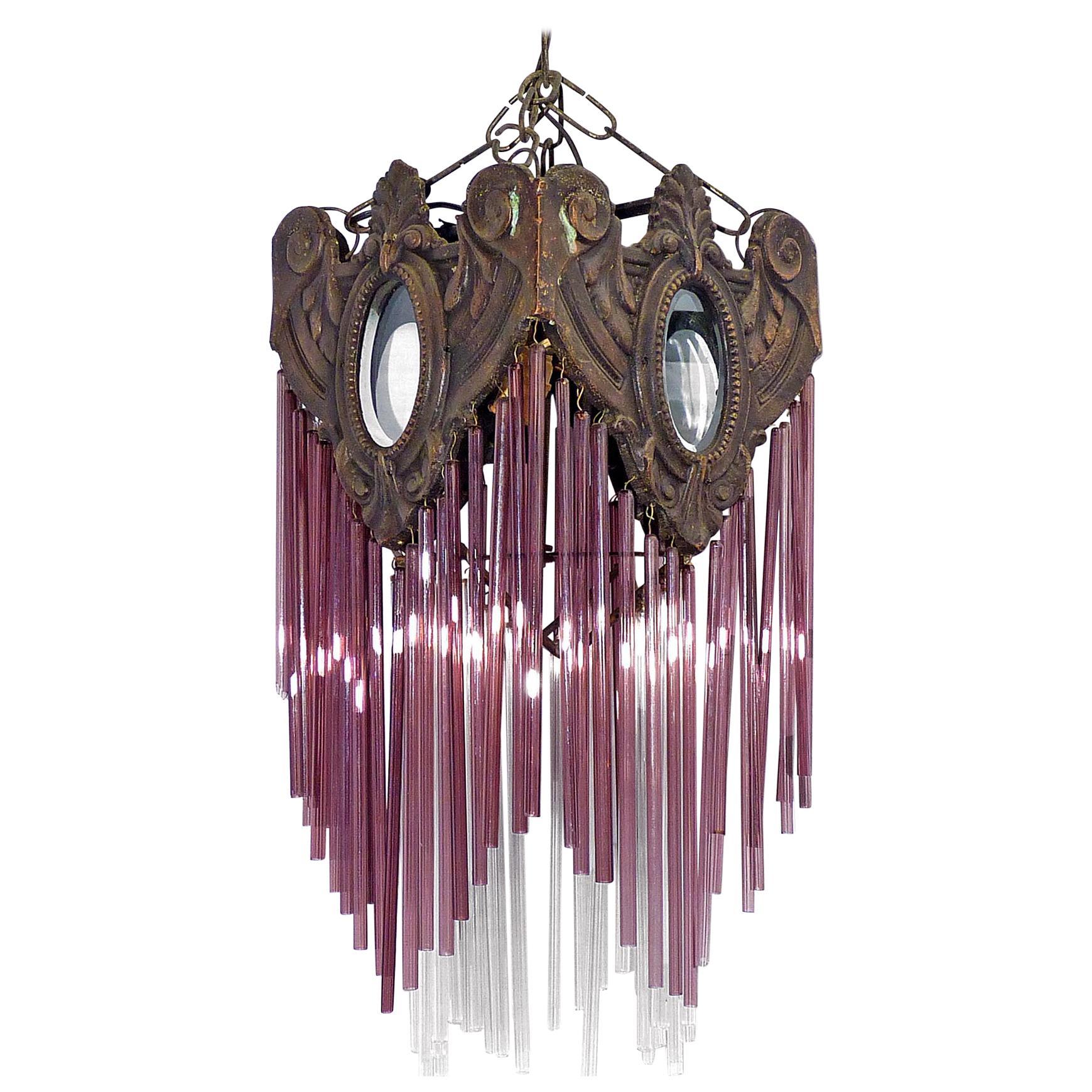 French Art Nouveau & Art Deco Bronze Purple Pink Glass Fringe Chandelier Lantern