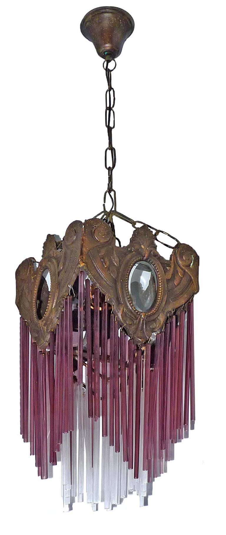 French Art Nouveau & Art Deco Bronze Purple Pink Glass Fringe Chandelier Lantern For Sale 1
