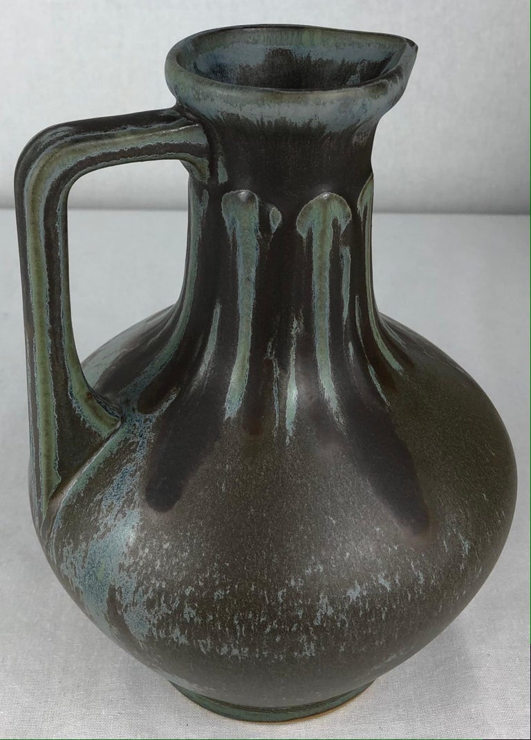 French Art Nouveau Art Deco Ceramic Vase, Signed In Good Condition For Sale In Arles, FR