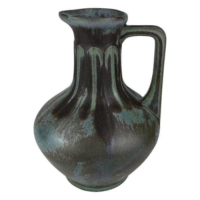French Art Nouveau Art Deco Ceramic Vase, Signed For Sale