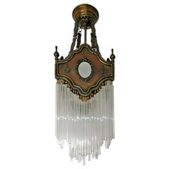 French Art Nouveau Art Deco Gilded Amber Beaded Glass Fringe Chandelier, Lantern
