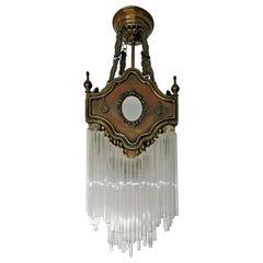 French Art Nouveau Art Deco Gilded Amber Beaded Glass Fringe Chandelier, Lantern