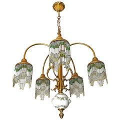 French Art Nouveau Art Deco Gilt Brass Bronze Porcelain Beaded Fringe Chandelier