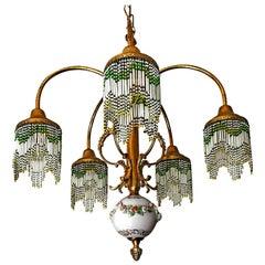 French Art Nouveau Art Deco Gilt Brass Bronze Porcelain Beaded Fringe Chandelier