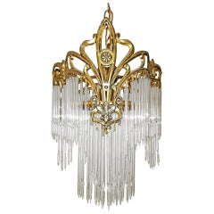 French Art Nouveau & Art Deco Gilt Bronze Crystal Fringe Chandelier Lantern 1920