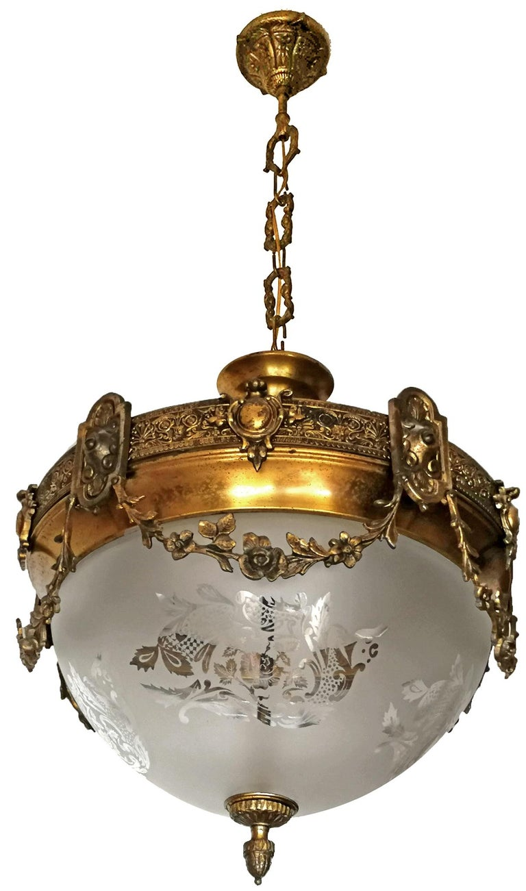 20th Century French Art Nouveau Art Deco Gilt Bronze & Etched Glass Chandelier or Flushmount For Sale