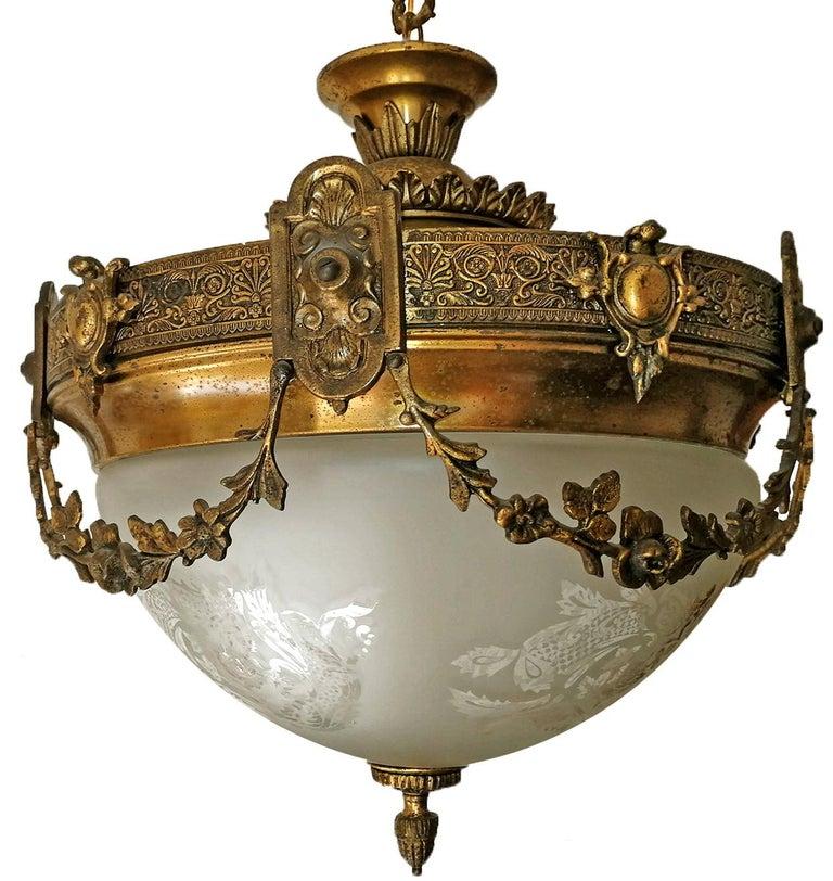 Brass French Art Nouveau Art Deco Gilt Bronze & Etched Glass Chandelier or Flushmount For Sale