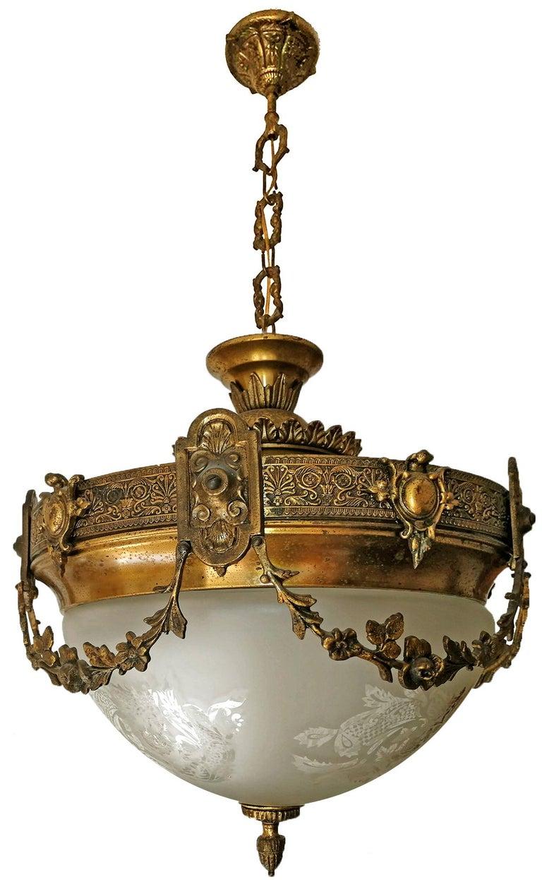 French Art Nouveau Art Deco Gilt Bronze & Etched Glass Chandelier or Flushmount For Sale 1
