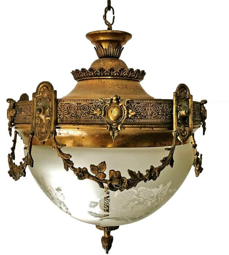 French Art Nouveau Art Deco Gilt Bronze & Etched Glass Chandelier or Flushmount For Sale 2