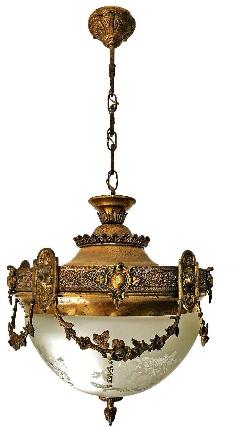 French Art Nouveau Art Deco Gilt Bronze & Etched Glass Chandelier or Flushmount For Sale 3