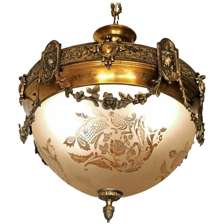 French Art Nouveau Art Deco Gilt Bronze & Etched Glass Chandelier or Flushmount For Sale