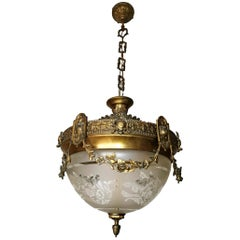 French Art Nouveau Art Deco Gilt Bronze & Etched Glass Chandelier or Flushmount