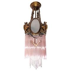 French Art Nouveau Art Deco Gilt Bronze Pink Glass Fringe Chandelier or Lantern