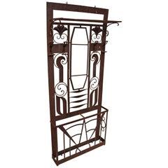 French Art Nouveau Art Deco Iron Hall Coat Tree Mirror Stand Edgar Brandt Style