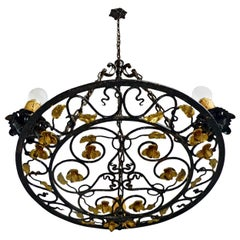 French Art Nouveau, Art Deco Round Gilt Hand Forged Scrolled Iron Chandelier