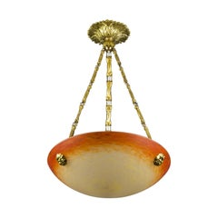 Art Nouveau Pate de Verre Glass Bowl Chandelier by Charles Schneider, 1920s