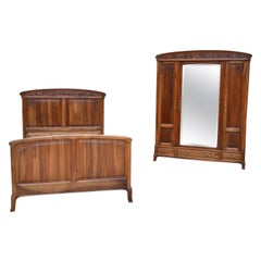 French Art Nouveau Bedroom Set in Carved Walnut, Blooming Shrubs Theme