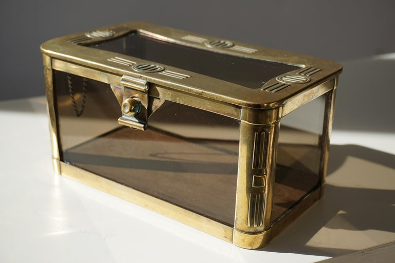 20th Century French Art Nouveau Brass and Glass Jewelry Box, circa 1900 For Sale