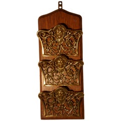 French Art Nouveau Brass and Oak Wall Hanging  Letter Rack