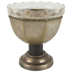 French Art Nouveau Brass Centerpiece with Cut-Glass Bowl, 1920s