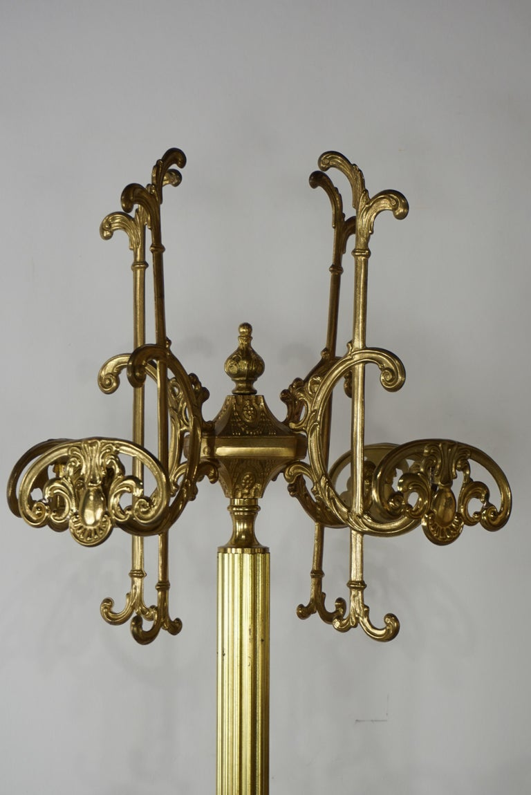 French Art Nouveau Brass Coat Rack In Excellent Condition For Sale In TOURCOING, FR