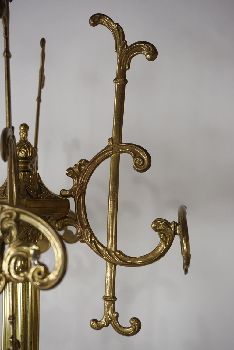 20th Century French Art Nouveau Brass Coat Rack For Sale