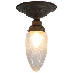 French Art Nouveau Brass Cut Blown Glass Flush Mount Ceiling Light, 1900s