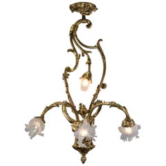 French Art Nouveau Bronze and Blown Glass Chandelier