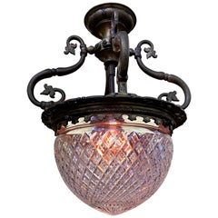 French Art Nouveau Bronze and Cut Crystal Flushmount / Pendant Light, circa 1920
