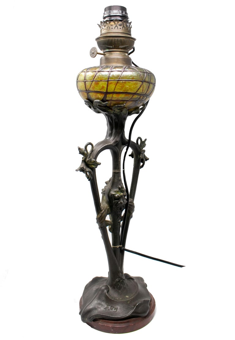 19th Century French Art Nouveau Bronze and Glass Signed Lamp For Sale
