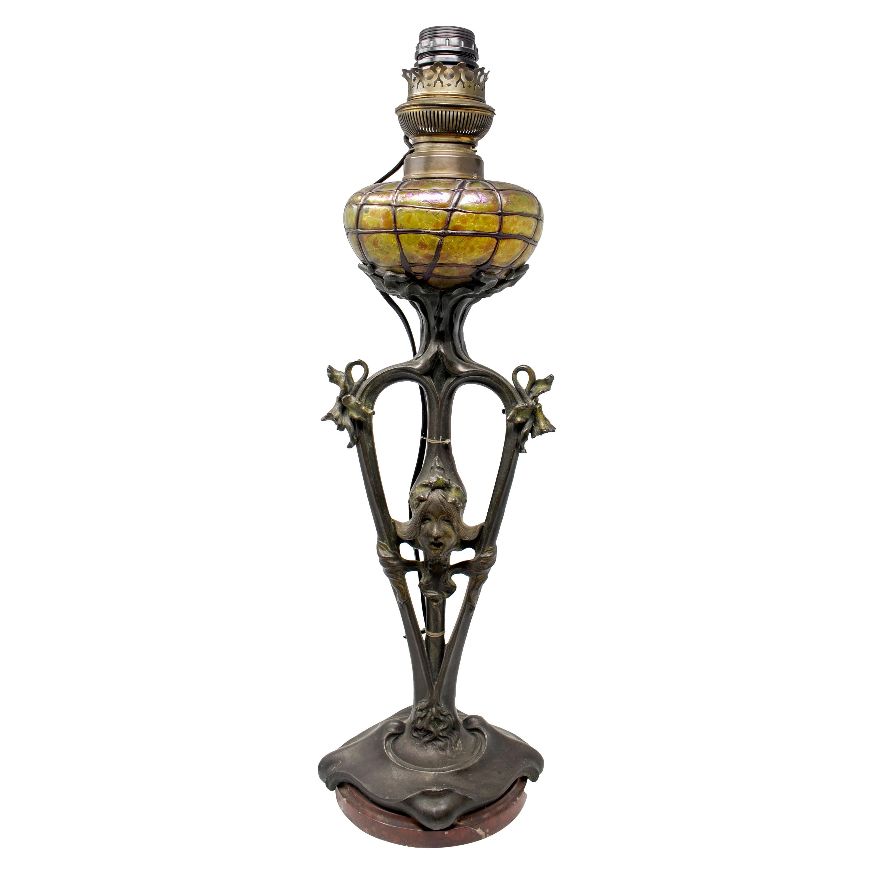 French Art Nouveau Bronze and Glass Signed Lamp