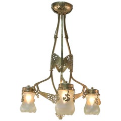 French Art Nouveau Bronze and Opaline Glass Chandelier