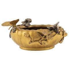 French Art Nouveau Bronze Bowl Depicting a Water Hole