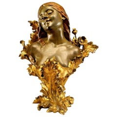 French Art Nouveau Bronze Bust of Lady