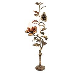 French Art Nouveau Bronze Floral Table Lamp