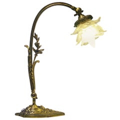 French Art Nouveau Bronze Table Desk Lamp, circa 1920