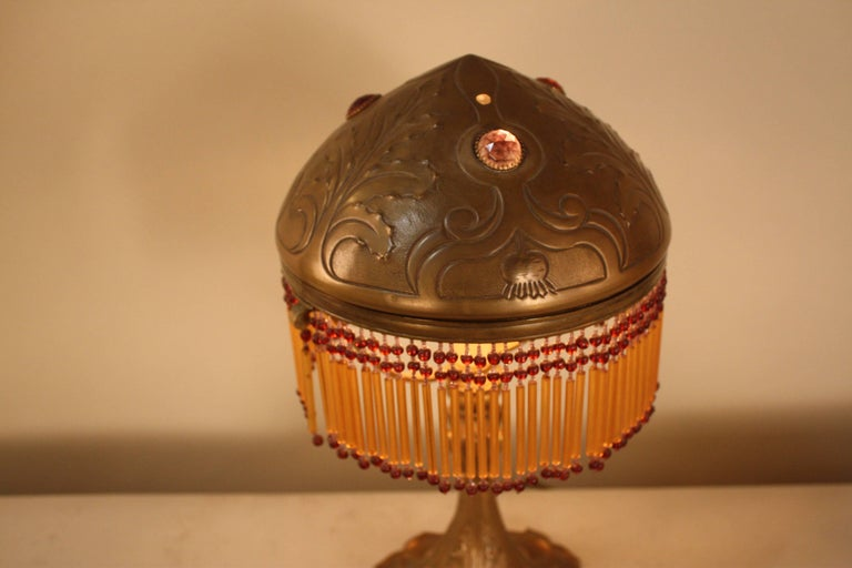 French Art Nouveau Bronze Table Lamp In Good Condition In Fairfax, VA