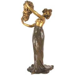 Flamand French Art Nouveau Bronze Table Lamp
