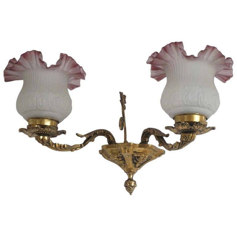 French Art Deco Brass Two-Arm Wall Sconce with Frosted Glass Shades For Sale