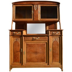 French Art Nouveau Buffet, Oak and Elm Bulm, circa 1910