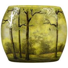 """French Art Nouveau Cameo Glass Vase """"Printemps Paysage"""" by Daum Frères"""