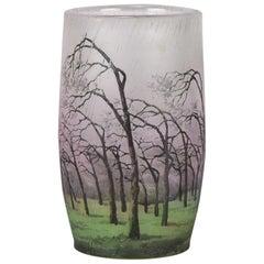 """French Art Nouveau Cameo Glass Vase """"Rain Landscape"""" by Daum Frères"""