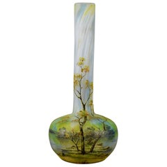 "French Art Nouveau Cameo Glass Vase ""Summer Landscape"" by Daum Frères"