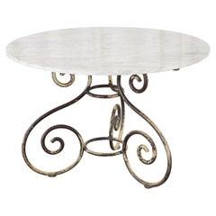 French Art Nouveau Carrrara Marble Iron Garden Dining Table