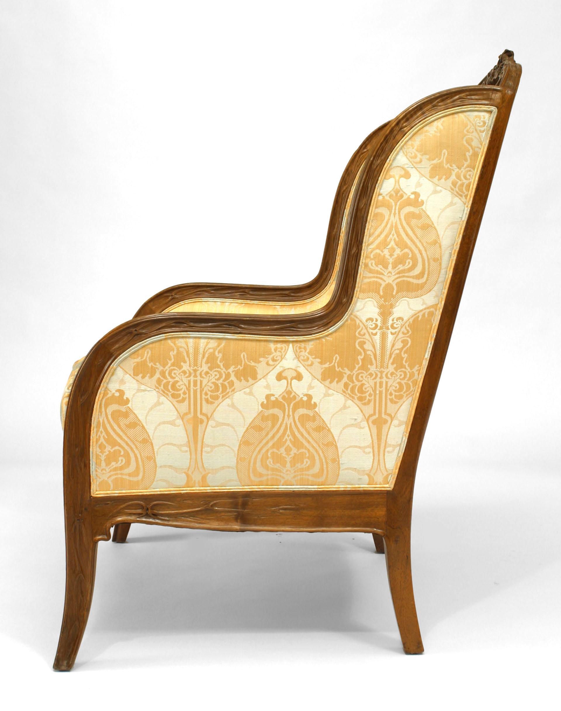 Chaise Style Art Nouveau french art nouveau carved bergere,louis majorelle